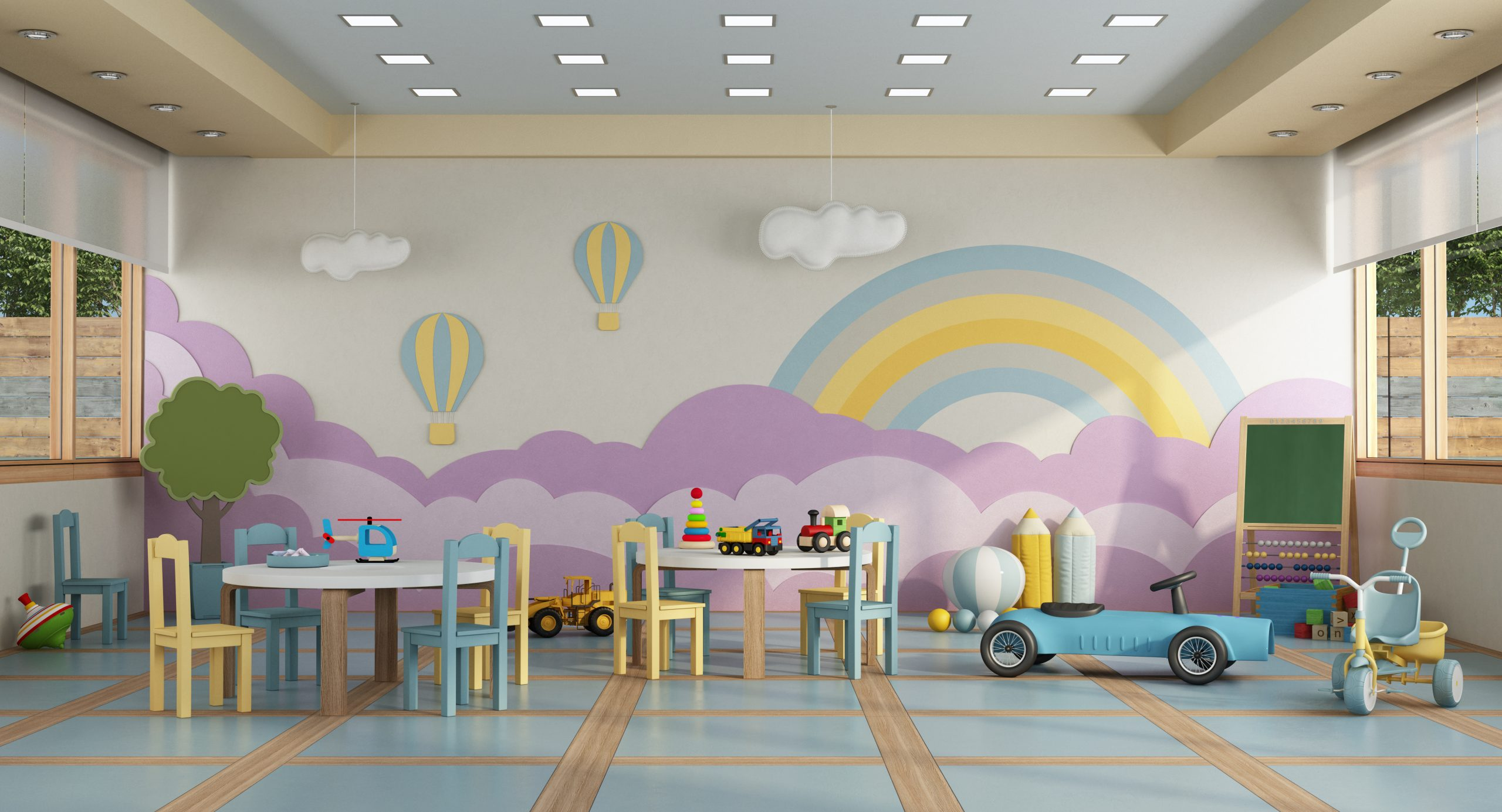 Colorful kindergarten class without childs ,school desk,chair,toy and decoration on background wall- 3d rendering